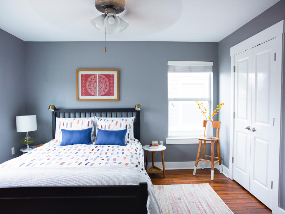 A freshly-painted bedroom